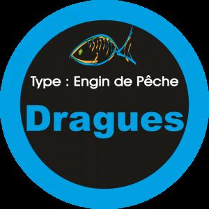 Adhésif engins de pêche - Dragues bleu sur Noir