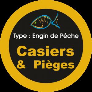 Adhésif engins de pêche - Casiers & Pièges orange clair sur Noir