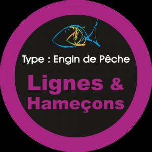 Adhésif engins de pêche - Lignes & Hameçons violet sur Noir