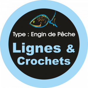 Adhésif engins de pêche - Lignes & Crochets bleu ciel sur Noir
