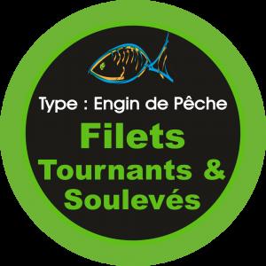 Adhésif engins de pêche - Filets Tournants & Soulevés vert sur Noir