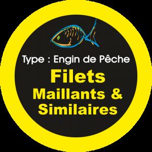 Adhésif engins de pêche - Filets Maillants & Similaires jaune sur Noir