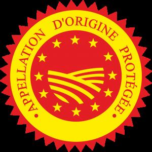 Adhésif label A.O.P rouge sur jaune