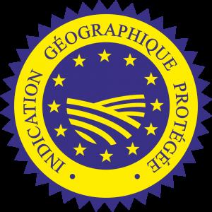 Adhésif label I.G.P bleu sur jaune