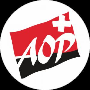 Adhésif label A.O.P Suisse rouge et noir sur blanc
