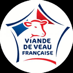 Adhésif Label Viande de Veau Française  bleu-blanc-rouge sur blanc