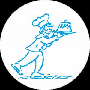Adhésif Surgélation Patineur bleu sur blanc