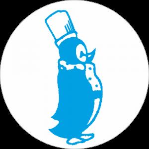 Adhésif Surgélation Pingouin bleu sur blanc