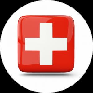 Adhésif drapeau pays - SUISSE - rouge/blanc/rouge sur blanc