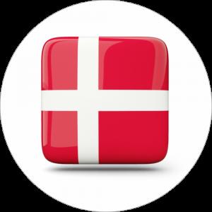 Adhésif drapeau pays - DANEMARK - rouge/blanc sur blanc