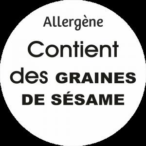 Adhésif allergène - Graines de sésame - noir fond blanc