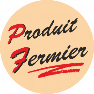 Adhésif Produit Fermier rouge et noir sur beige