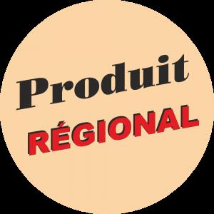 Adhésif Produit Régional rouge et noir sur beige