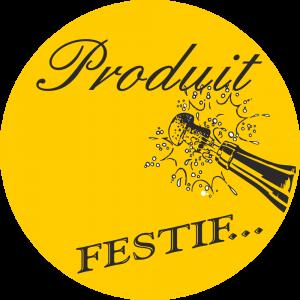 Adhésif Produit Festif noir sur or
