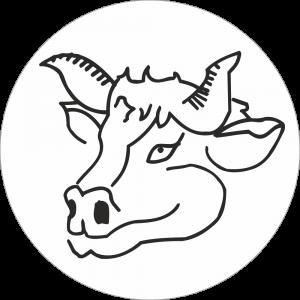 Adhésif tête animal - Vache - noir fond blanc
