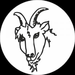 Adhésif tête animal - Chèvre - noir fond blanc