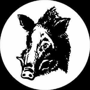 Adhésif tête animal - Sanglier - noir fond blanc
