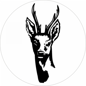 Adhésif tête animal - Chevreuil - noir fond blanc