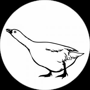 Adhésif tête animal - Oie - noir fond blanc