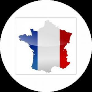 Adhésif Origine FRANCE (carte) bleu/blanc/rouge sur blanc