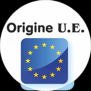 Adhésif Origine U.E. Union Européenne bleu étoiles jaune sur blanc