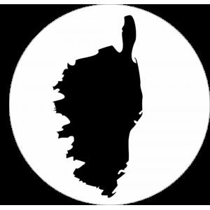 Adhésif Origine CORSE (logo ile) noir sur blanc