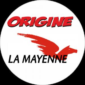 Adhésif  Origine LA MAYENNE rouge/noir sur blanc