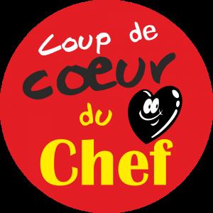 Adhésif Conseil Clientèle - Coup de Cœur du Chef - fond rouge
