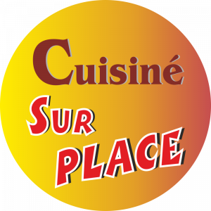 Adhésif Conseil Clientèle - Cuisiné sur place - fond dégradé jaune