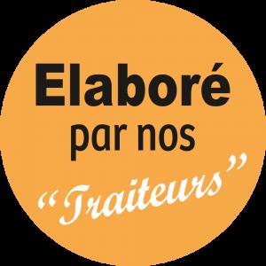 Adhésif Conseil Clientéle - Elaboré par nos Traiteurs - fond orange clair