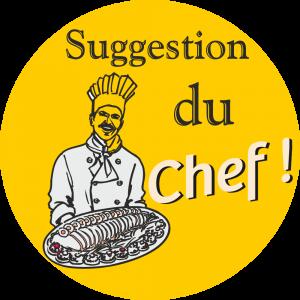 Adhésif Conseil Clientèle - Suggestion du Chef - fond jaune foncé