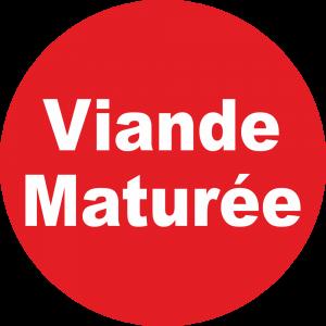 Adhésif Information Clientèle - Viande Maturée blanc sur rouge