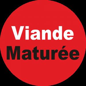 Adhésif Information Clientèle - Viande Maturée blanc/noir sur rouge
