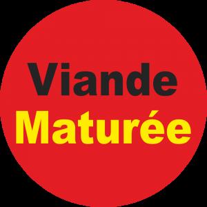 Adhésif Information Clientèle - Viande Maturée noir/jaune sur rouge