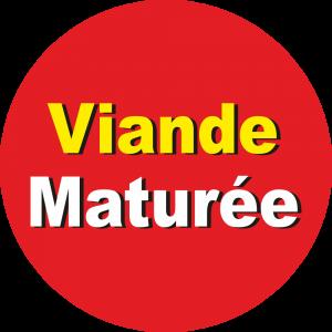 Adhésif Information Clientèle - Viande Maturée jaune/blanc sur rouge