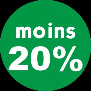 Adhésif REMISE -20% blanc fond vert