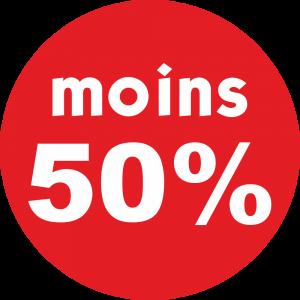Adhésif REMISE -50% blanc fond rouge