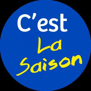 Adhésif Information Clientèle - C'est La Saison fond bleu roi