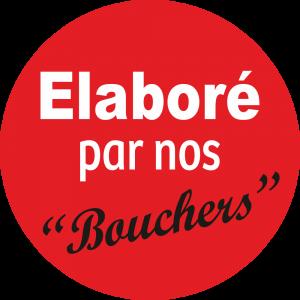 Adhésif Information Clientèle - Elaboré par nos Bouchers fond rouge