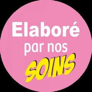Adhésif Information Clientèle - Elaboré par nos SOINS fond rose