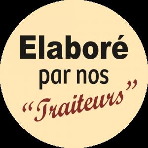Adhésif Information Clientèle - Elaboré par nos Traiteurs fond beige