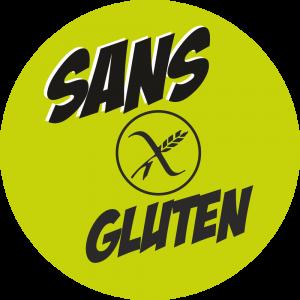 Adhésif Information Clientèle - SANS Gluten noir fond vert
