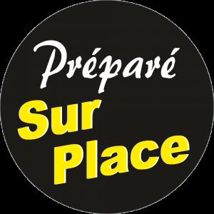 Adhésif Information Clientèle - Préparé Sur Place fond noir