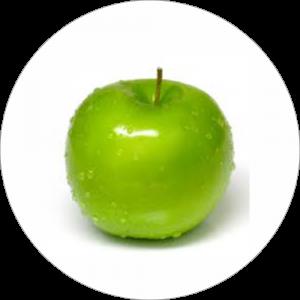Adhésif Décor Fruit - Pomme granny Smith - fond blanc