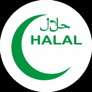 Adhésif Halal - Halal croissant vert fond blanc