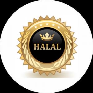 Adhésif Halal glossy - Or et noir fond blanc
