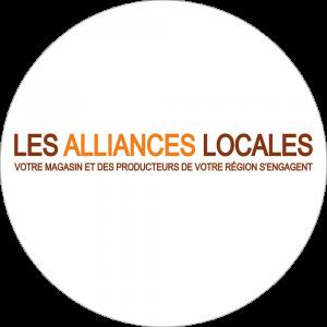 Adhésif logo grande distribution (G.M.S) - LECLERC LES ALLIANCES LOCALES marron et orange fond blanc