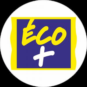 Adhésif logo grande distribution (G.M.S) - LECLERC - ECO+ bleu et jaune fond blanc
