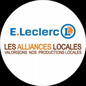 Adhésif logo grande distribution (G.M.S) - LECLERC + LES ALLIANCES LOCALES fond blanc