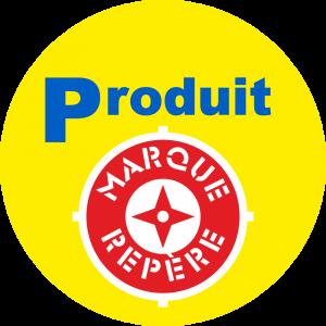 Adhésif logo grande distribution (G.M.S) - LECLERC Produit Marque Repère fond jaune